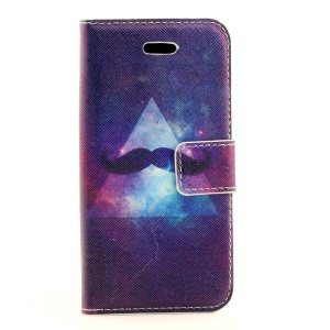 Mustache & Triangle Magnetic Leather Case w/ Card Slots for iPhone 5s 5
