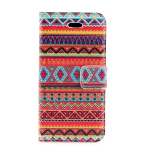 Tribe Geometric Pattern Magnetic Leather Cover w/ Card Slots for iPhone 5s 5