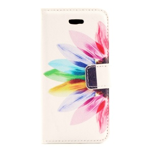 Colorized Flowers Magnetic Leather Case w/ Card Slots for iPhone 5s 5