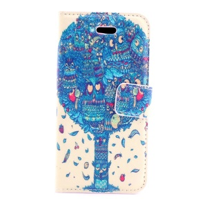 Blue Cartoon Tree Magnetic Leather Cover w/ Card Slots for iPhone 5s 5