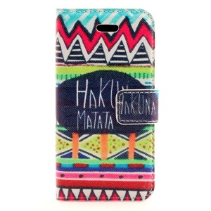 HAKUNA MATATA & Tribal Pattern Leather Magnetic Case Stand for iPhone 5s 5