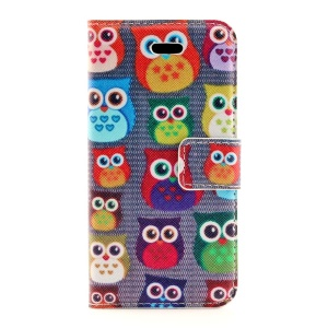 Multiple Owls Leather Magnetic Cover Stand for iPhone 5s 5