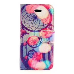 Feather Dream Catcher Leather Magnetic Case w/ Card Slots for iPhone 5s 5