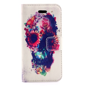 Flowered Skull Leather Stand Cover for iPhone 5s 5