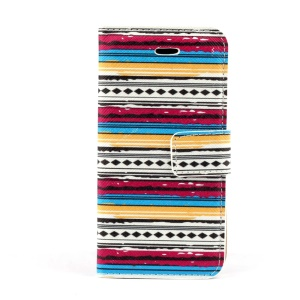 Tribe Stripes Leather Magnetic Case w/ Card Slots for iPhone 5s 5
