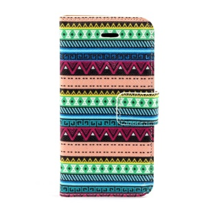 Colorful Tribe Pattern Leather Magnetic Cover w/ Card Slots for iPhone 5s 5