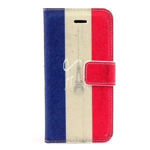 Eiffel Tower & French Flag Leather Magnetic Case w/ Card Slots for iPhone 5s 5
