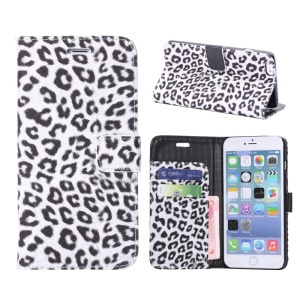 Leopard Leather Wallet Case for iPhone 6 Plus w/ Stand - White