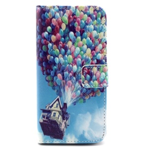 Colorized Hot Air Balloons Leather Stand Case w/ Card Slots for iPhone 6