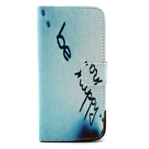 Quote Be Happy Magnetic Leather Stand Cover for iPhone 6