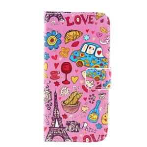 Eiffel Tower & Flowers Leather Stand Case Accessory for iPhone 6