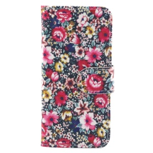 Vivid Flowers Leather Stand Cover w/ Card Slots for iPhone 6