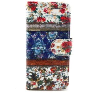 Fresh Flowers Stand Leather Card Holder Case for iPhone 6
