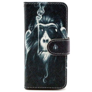 Smoking Monkey Leather Stand Cover w/ Card Slots for iPhone 6