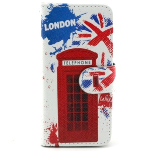 Red Telephone Box Leather Stand Cover w/ Card Slots for iPhone 6