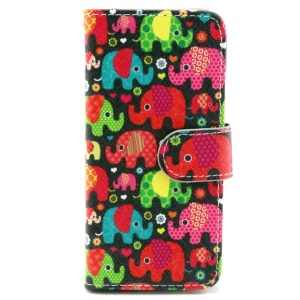 Colorized Elephants Leather Stand Cover w/ Card Slots for iPhone 6