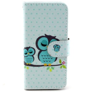 Sleeping Owl on the Branch Leather Case w/ Card Slots for iPhone 6