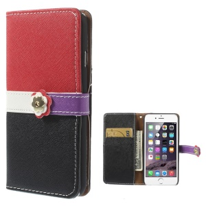 Cross Pattern Leather Wallet Cover for iPhone 6 with Magnetic Flap - Red / Black