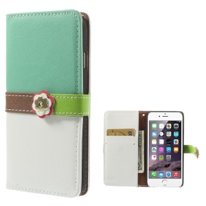 Cross Pattern Leather Wallet Cover for iPhone 6 with Magnetic Flap - Cyan / White