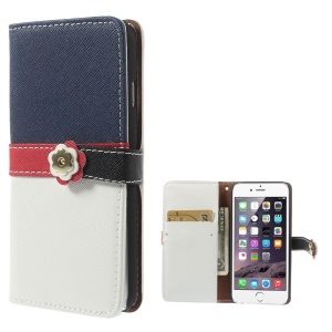 Cross Pattern Leather Wallet Case for iPhone 6 with Magnetic Flap - Deep Blue / White