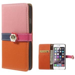 Cross Pattern Leather Wallet Cover for iPhone 6 with Magnetic Flap - Pink / Orange