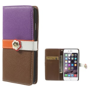 Cross Pattern Leather Wallet Cover for iPhone 6 with Magnetic Flap - Purple / Brown