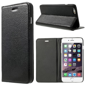 Lychee Texture Cowhide Genuine Leather Stand Case for iPhone 6 - Black
