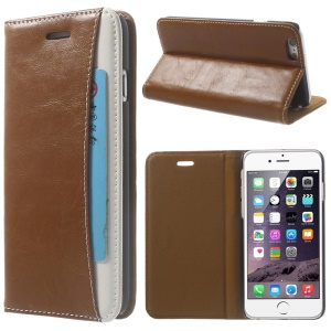 Crazy Horse Texture Folio Leather Stand Case Shell with Card Holder for iPhone 6 4.7 inch - Brown