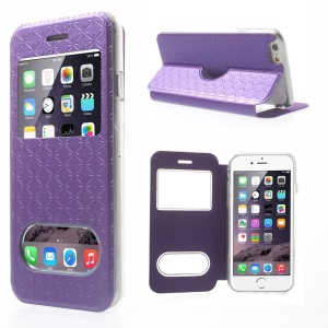 Cross Texture Dual View Window Leather Stand Phone Case for iPhone 6 - Purple