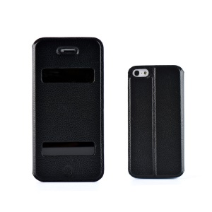 ZVE for iPhone 5 5s Dual Windows Genuine Cowhide Leather Case - Black
