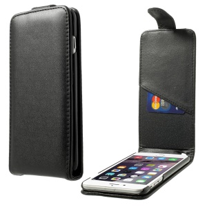 Vertical Flip Leather Magnetic Case for iPhone 6 Plus w/ Card Slot - Black