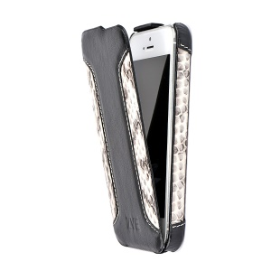ZVE Deluxe Vertical Snakeskin PU Leather Flip Case for iPhone 5 5s