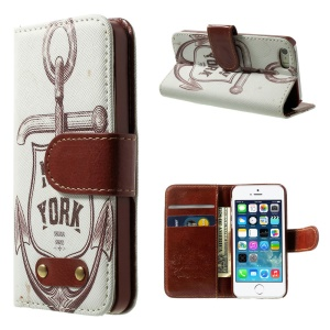 Sailor Anchor & New York Leather Wallet Case for iPhone 5s 5 w/ Stand