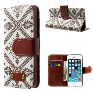 Moroccan Pattern Leather Wallet Cover for iPhone 5s 5 w/ Stand