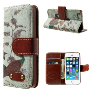 Peacock & Peony Pattern Leather Wallet Shell for iPhone 5s 5 w/ Stand