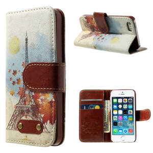 Eiffel Tower & Maple Pattern Leather Wallet Stand Case for iPhone 5s 5