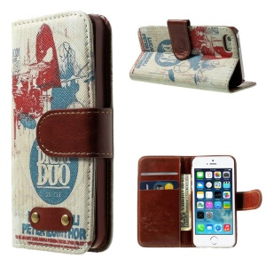 Suisse Drum Duo Pattern Leather Wallet Stand Cover for iPhone 5s 5