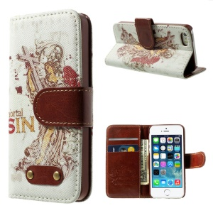 Mortal Sin Pattern Leather Wallet Stand Shell for iPhone 5s 5