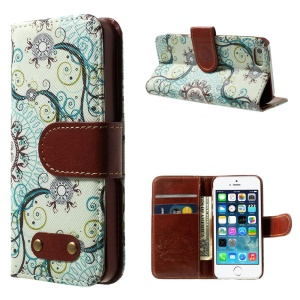 Mandala Pattern Wallet Leather Folio Case w/ Stand for iPhone 5s 5