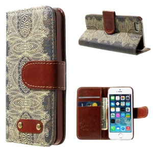 Stylish Flower Pattern Wallet Leather Folio Cover w/ Stand for iPhone 5s 5