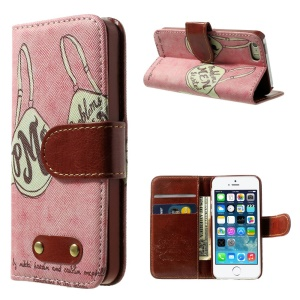 Sexy Bra Pattern Wallet Leather Folio Shell w/ Stand for iPhone 5s 5