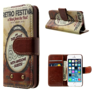 Retro Festival Pattern Wallet Leather Magnetic Case w/ Stand for iPhone 5s 5