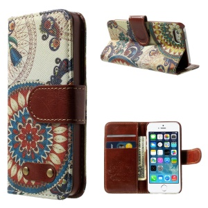 Colorful Mandala Pattern Wallet Leather Magnetic Cover w/ Stand for iPhone 5s 5