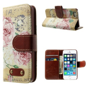 Blooming Peony Pattern Wallet Leather Magnetic Shell w/ Stand for iPhone 5s 5