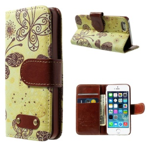 Elegant Butterflies Pattern Wallet Leather Case w/ Stand for iPhone 5s 5