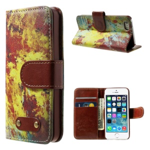 Colorful Painting Wallet Leather Cover w/ Stand for iPhone 5s 5