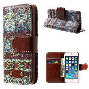 Tribal Pattern Wallet Leather Shell w/ Stand for iPhone 5s 5