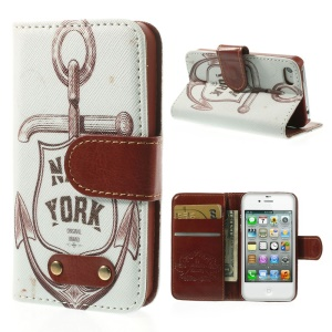New York Anchor Leather Wallet Stand Cover for iPhone 4s 4
