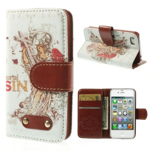 Mortal Sin Leather Wallet Stand Case for iPhone 4s 4