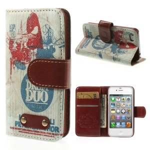 DRUM DUO Leather Wallet Stand Shell for iPhone 4s 4